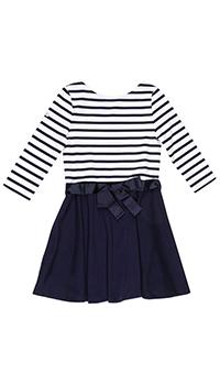Платье в полоску Polo Ralph Lauren темно-синее с бантом, фото