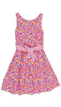 Платье с цветочным принтом Polo Ralph Lauren и полосатым поясом, фото