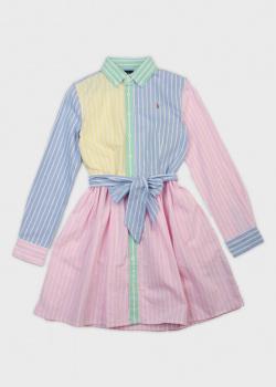 Разноцветное платье-рубашка Polo Ralph Lauren для детей, фото