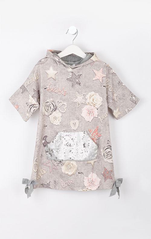 Серое детское платье Elsy с принтом, фото