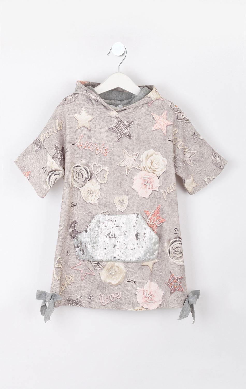 Серое детское платье Elsy с принтом