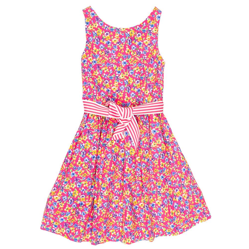 Платье с цветочным принтом Polo Ralph Lauren и полосатым поясом
