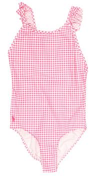 Цельный купальник Polo Ralph Lauren розового цвета в клетку, фото