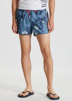 Синие пляжные шорты Emporio Armani с цветочным принтом, фото