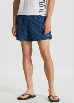 Синие пляжные шорты Emporio Armani с лого, фото