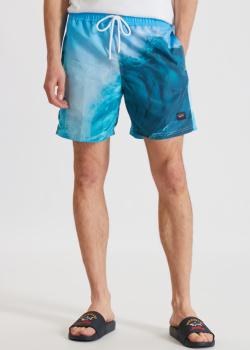 Голубые пляжные шорты Paul&Shark с принтом, фото