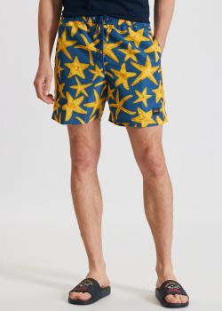 Синие пляжные шорты Paul&Shark с рисунком-звездами, фото