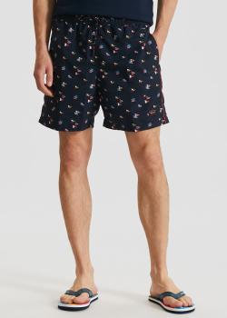 Пляжные шорты Paul&Shark темно-синего цвета с принтом, фото