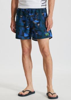 Пляжные шорты EA7 Emporio Armani с геометрическим принтом, фото