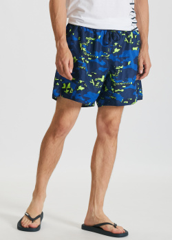 Пляжные шорты Emporio Armani синие с принтом, фото