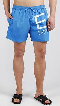 Голубые боксеры Ea7 Emporio Armani с белым лого, фото