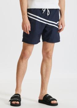 Синие пляжные шорты Paul&Shark с белым принтом, фото