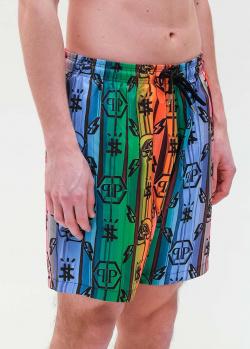 Разноцветные пляжные шорты Philipp Plein с принтом, фото