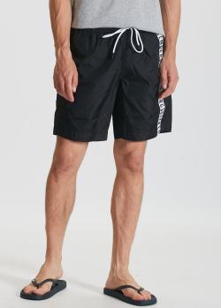 Черные пляжные шорты Bikkembergs с фирменной надписью, фото