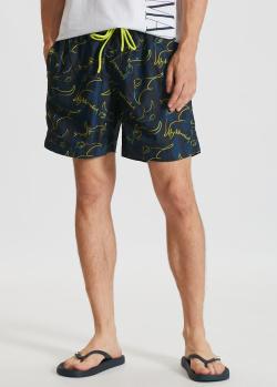 Пляжные шорты Bikkembergs с брендовым принтом, фото