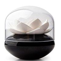Подставка для ватных палочек Qualy Lotus Cotton Bud черная с белым, фото