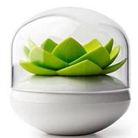 Подставка для ватных палочек Qualy Lotus Cotton Bud белая с зеленым, фото