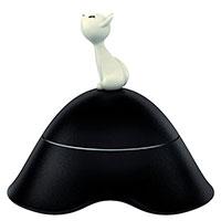 Миска для кошек Alessi Mio с крышкой черного цвета, фото