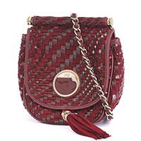 Бордовая сумка Cavalli Class Pre-owned с эффектом плетения, фото