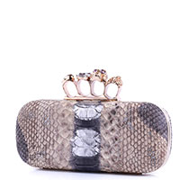 Клатч Alexander McQueen Pre-owned Snake Embossed Knuckle Duster, фото