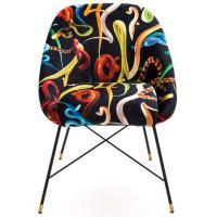 Кресло Seletti Toiletpaper с принтом змеи черного цвета, фото