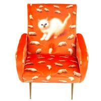 Кресло Seletti Toiletpaper с принтом кошки, фото