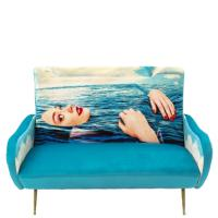 Диван-софа Seletti Toiletpaper с принтом девушки бирюзового цвета, фото