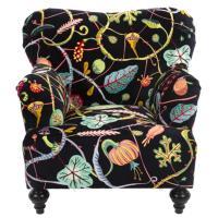 Кресло Seletti Botanical Diva с необычным принтом черного цвета, фото