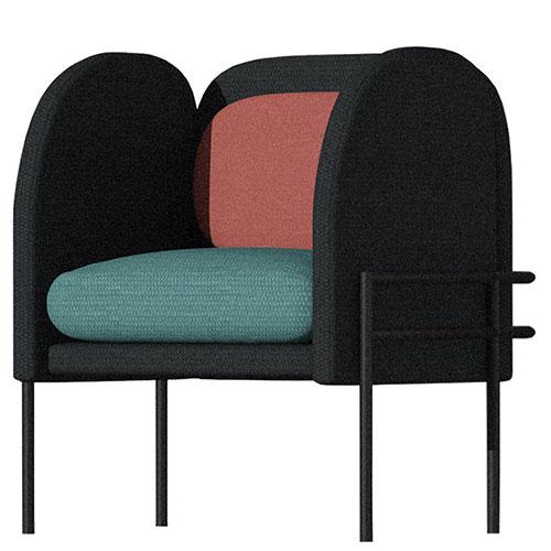 Черное кресло Wudus Korsi с цветными вставками, фото