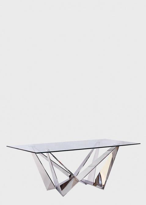 Стеклянный стол PRESTOL Глазго на многогранных ножках, фото