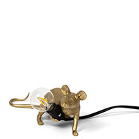 Светильник Seletti Mouse lamp lop-gold золотистого цвета, фото