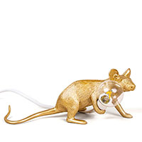 Светильник-мышь Seletti Mouse Lamp Gold Liyng down, фото