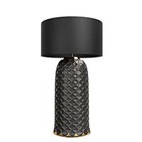 Настольный светильник Ceramika Design Ajur черного цвета с золотистым узором, фото