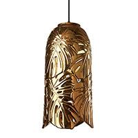 Подвесной светильник Ceramika Design Monstera золотистого цвета и узором из листьев, фото