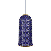 Подвесной светильник Ceramika Design Ajur 3D синего цвета с золотистым узором, фото