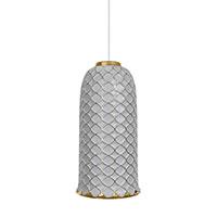 Подвесной светильник Ceramika Design Ajur 3D серого цвета с золотистым узором, фото