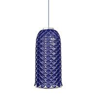 Подвесной светильник Ceramika Design Ajur 3D синего цвета с серебристым узором, фото