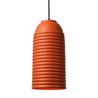 Подвесной светильник Ceramika Design Touch с плафоном оранжевого цвета и объемными полосами, фото