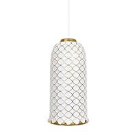 Подвесной светильник Ceramika Design Ajur 3D белого цвета с золотистым узором, фото