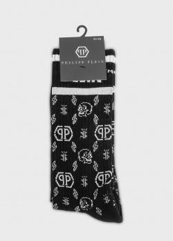 Высокие носки Philipp Plein с фирменным изображением, фото