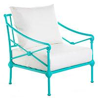 Кресло Pradex Верона Лаунж в каркасе бирюзового цвета с белыми подушками, фото