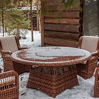 Круглый обеденный стол Skyline Design Ebony ручного плетения из искусственного ротанга , фото