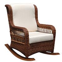 Плетеное кресло-качалка Skyline Design Ebony с мягкими подушками, фото