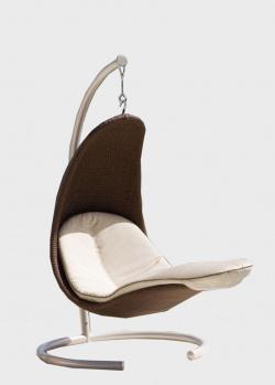 Коричневое подвесное кресло на стойке Skyline Design Christine из искусственного ротанга, фото