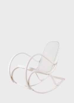 Белое кресло-качалка Seletti Rock me с зеленым ободком, фото