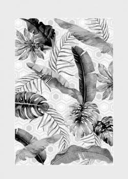 Серый ковер SL Carpet Jungle с растительным узором (улица, дом) 133х190см, фото