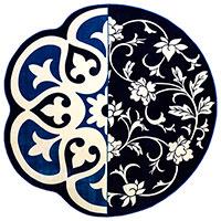Круглый ковер Seletti Hybrid Andria синего цвета, фото