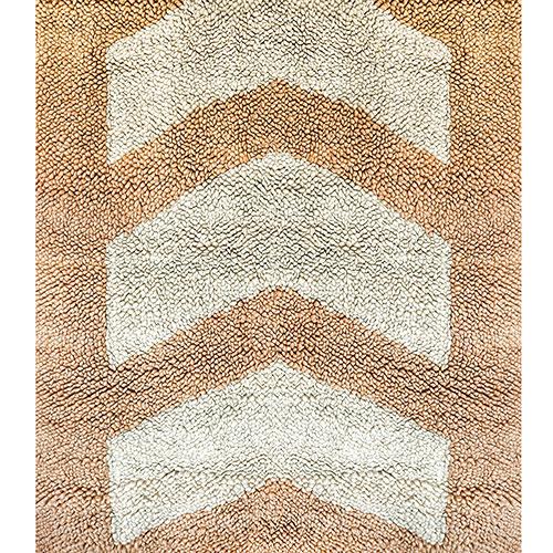 Бежевый ковер Ґушка с белыми стрелами 200х206см, фото