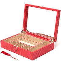 Кожаная шкатулка для украшений Wolf 1834 красного цвета на ключике, фото