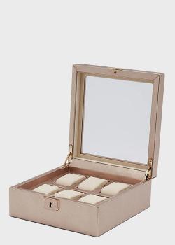 Розовая шкатулка для хранения часов Wolf 1834 Palermo на 6 единиц, фото